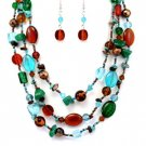 Teal & Brown Multi Bead Necklace Set