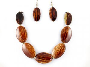 Brown Stone-Look Ovals Necklace Set