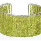 Lime Green Glass Seed Bead Cuff Bracelet