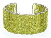 Lime Green Glass Seed Bead Cuff Bracelet
