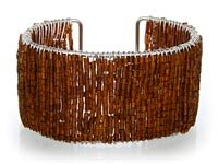 Brown Glass Seed Bead Cuff Bracelet