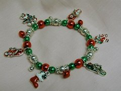 Christmas Bracelet with Red & Green Colored Beads and Fun Dangles