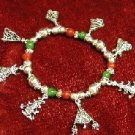 Christmas bracelet with red, green beads and silver trees