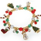 Gold, Red, Green & Wht Christmas Bracelet