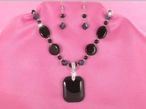 Black Onyx Oblong Necklace Set (LC)