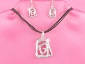Silver Spiral Rectangle Necklace Set (LC)