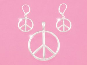 Silver Peace Sign Pendant Set (LC)