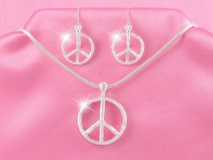 Silver Peace Sign Necklace Set (LC)