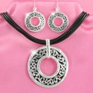 Silver & Black Scrollwork Ring Necklace Set (LC)