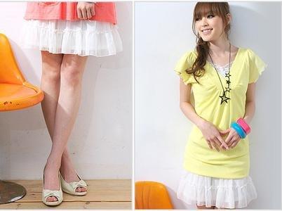 B0001 (white ruffle skirt)