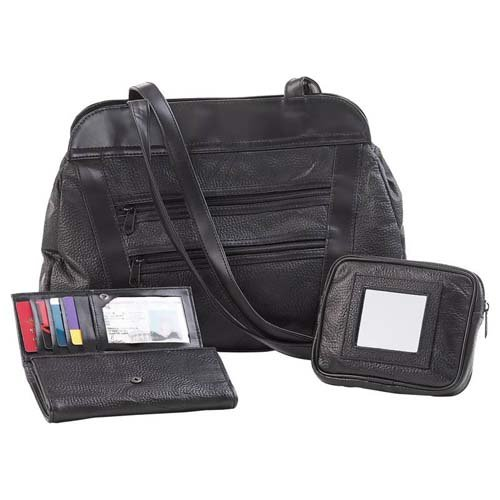 Embassy� Hand-Sewn Pebble Grain Genuine Leather 3pc Purse Set