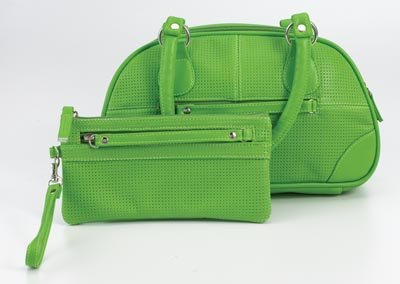 Embassy Faux Leather Green Purse and Wristlet Set.