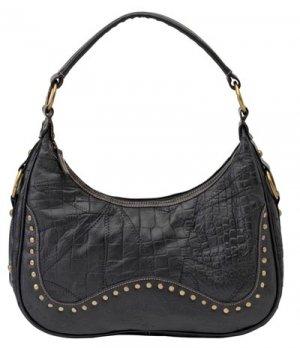 Embassy Italian Stone Design Genuine Leather Purse with Alligator Design and Studded Embellishments