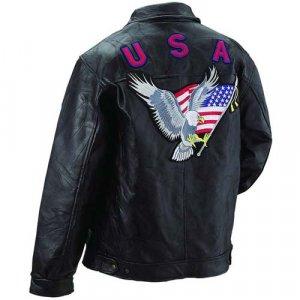 Giovanni Navarre® Italian Stone� Design Genuine Leather Men's Eagle Jacket