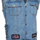Diamond Plate Denim Motorcycle Vest w/ patches