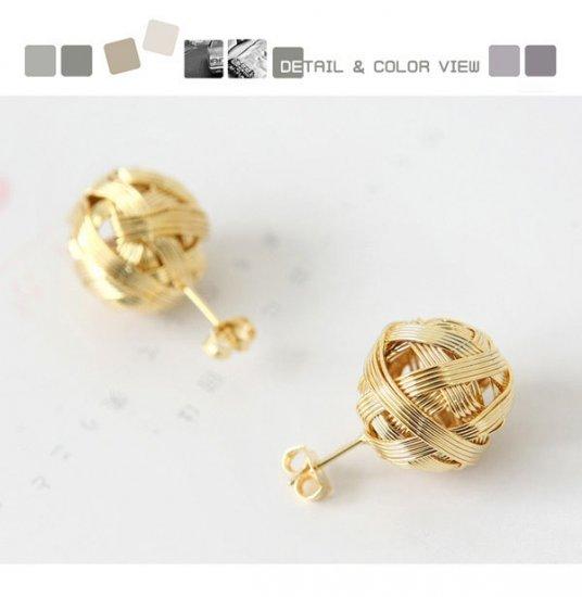 A30598 Korean Jewelry Woven Ball Earrings