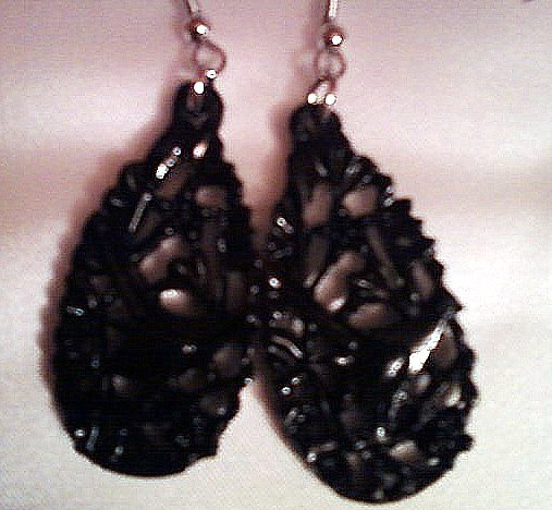 Black Victorian Bird style Earrings.