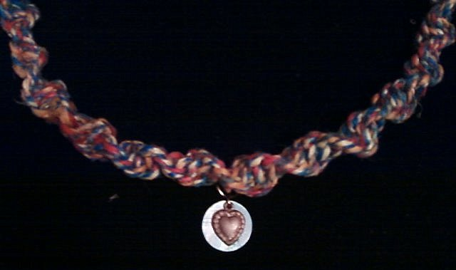 Colorful Hemp Neclace with heart pendent.