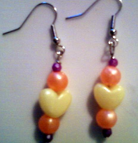 Yellow, Orange, and Purple Heart Earrings.