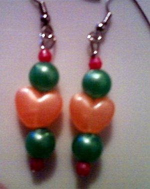Orange, Green, and Pink Heart Earrings.