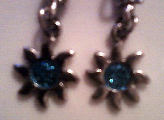 Silver Sun Earrings with Blueberry Blue Sparkle Center.