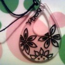 Large Clear and Black Necklace with Flowers.