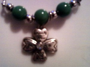 Silver Lucky Flower Green Beaded Necklace.