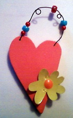 Pink Heart with Yellow FlowerTag