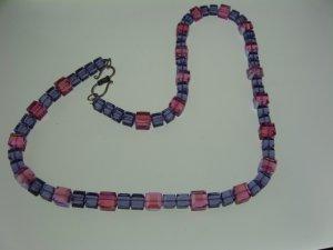 Tanzinite and Rose Aurora Borealis Cube Swarovski Crystal Necklace