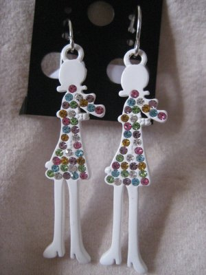 CHILDRENS WHITE EARRINGS WITH COLORFUL ROCKS