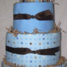 4Tier Baby Shower Gift Modern Blue Brown Diaper Cake Boy