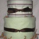 4Tier Baby Shower Gift Modern Sage Brown Diaper Cake Boy Girl