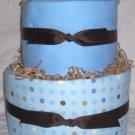 2Tier Baby Shower Gift Modern Blue Brown Diaper Cake Boy