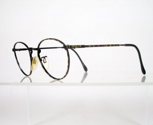 LUXOTTICA 400 Black and Tortoise Wire Eyeglass Frames