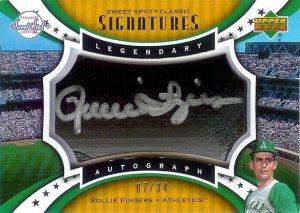 2006 Sweet Spot Rollie Fingers autograph barrel 07/34