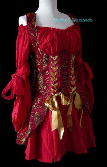 Red Renaissance Dress Costume XS