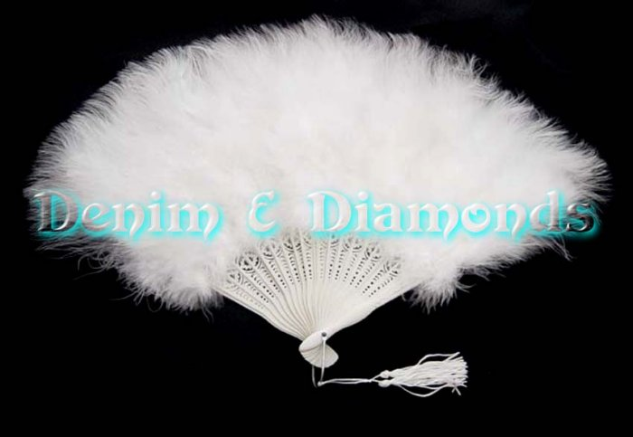White Marabou Feather Hand Fan Bridal Wedding