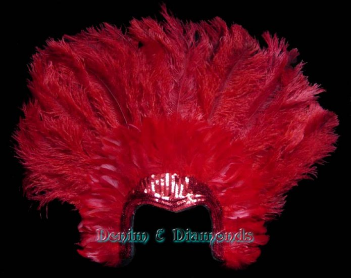 Red Ostrich Feather Showgirl Burlesque Costume Headdress