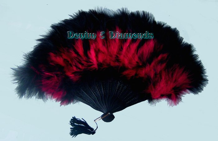 Red & Black Marabou Feather Hand Fan