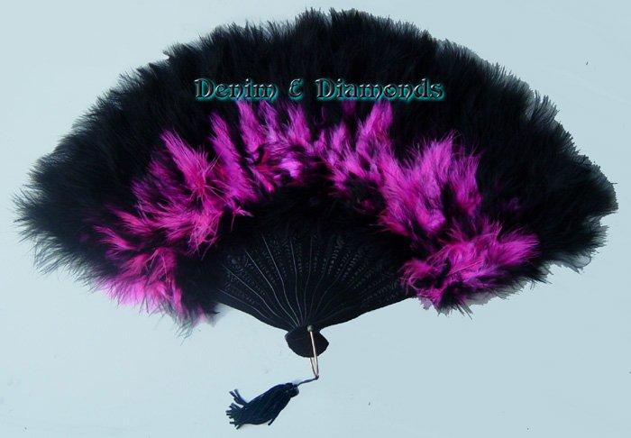 Hot Pink & Black Marabou Feather Hand Fan