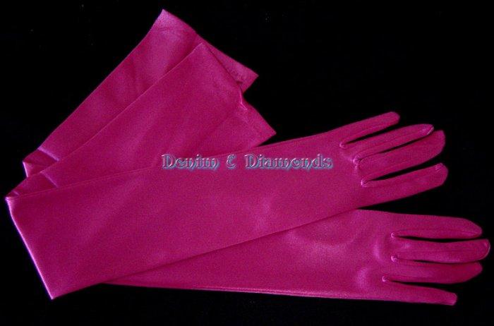 "Hot Pink Satin Stretch Opera Length Gloves 23"""