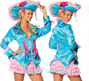 SALE! Roma Caribbean Pirate Costume Skirt, Jacket & Hat Teal/Pink S/M