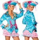 SALE! M/L-Roma Costume Pirate Costume Skirt, Jacket & Hat Teal/Pink