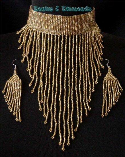 Handmade Czech Glass Seed Bead Choker & Earrings Set Victorian Gold