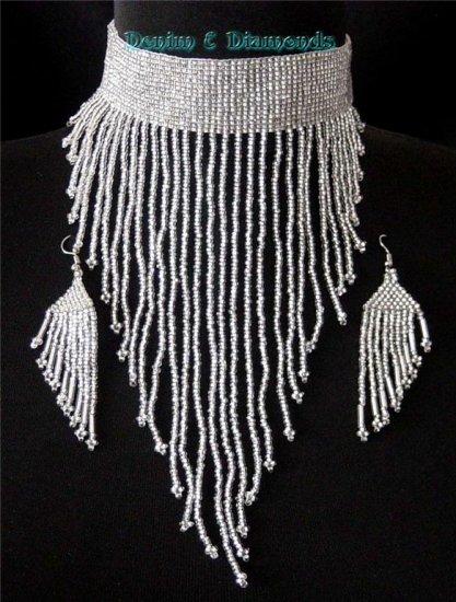 Handmade Czech Glass Seed Bead Choker & Earrings Set Victorian Silver
