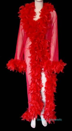 Custom Sheer Feather Trim Peignoir Long Dressing Robe/Coat Pin Up Burlesque Costume