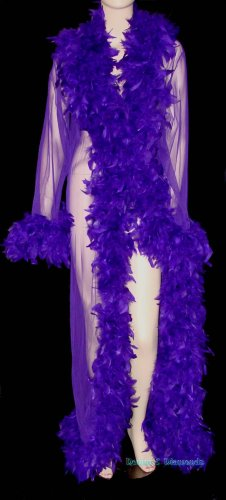 Custom Sheer Feather Trim Peignoir Long Dressing Robe/Coat Pin Up Burlesque Costume Purple
