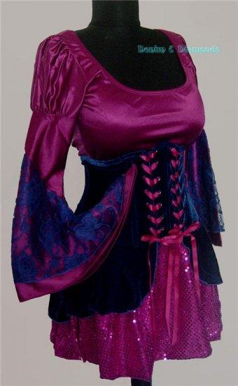 S/M-2 pc Renaissance Costume Dress & Skirted Waist Cincher Corset S/M