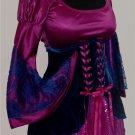 M/L-2 pc Renaissance Costume Dress & Skirted Waist Cincher Corset