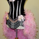 M-Pink & Black Victorian Lace Moulin Burlesque Showgirl Costume